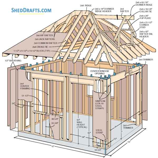 10 12 Hip Roof Storage Shed Dormer Plans Blueprints To Assemble Potting Shed