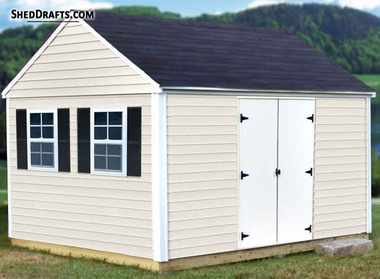 12 12 Gable Garden Storage Shed Plans Blueprints To Craft Long
