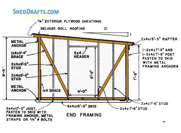 12 12 Lean To Shed Building Plans Blueprints For Large Outhouse