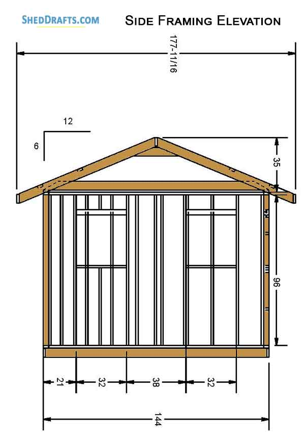 12×16 Gable Garden Storage Shed Plans Blueprints To Craft ...
