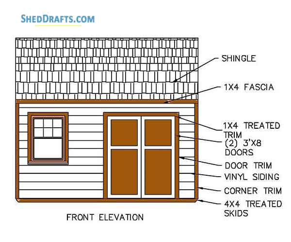 12 16 Gambrel Storage Shed Plans Blueprints For Barn Style Building