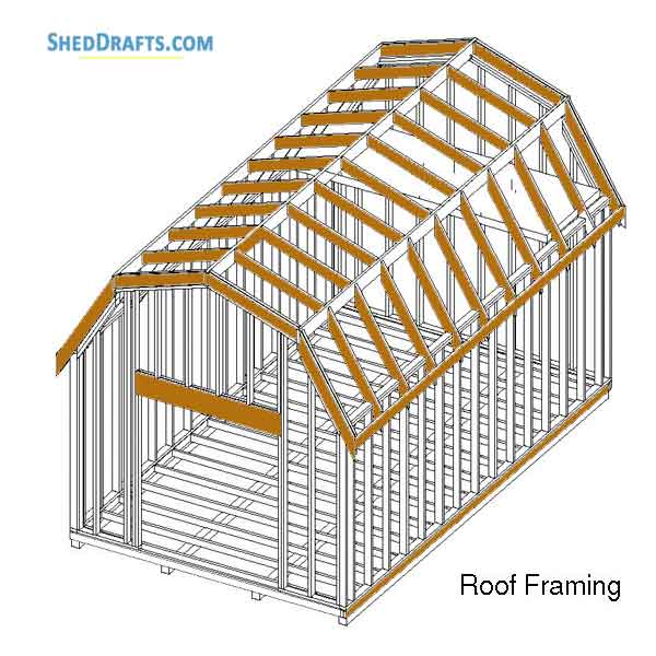 12 20 Gambrel Barn Shed Building Plans Blueprints To Create