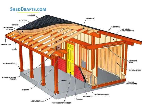 16 16 Large Garden Shed Building Plans Blueprints For Diy
