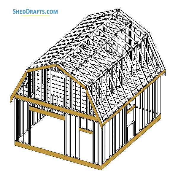 20 215 24 Gambrel Roof Barn Shed Plans Blueprints For Making