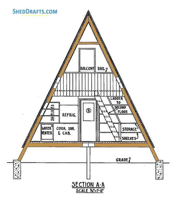 24×36 A Frame Cabin Shed Plans Blueprints For Designing Big Shed