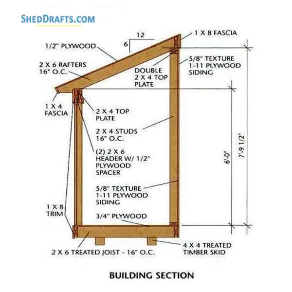 4 6 Lean To Roof Tool Shed Plans Blueprints For Potting Shed