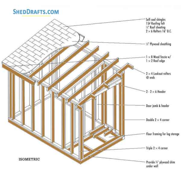 6 10 Lean To Firewood Storage Shed Plans Blueprints For Diy Crafting