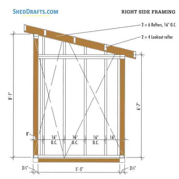 6 215 10 Lean To Firewood Storage Shed Plans Blueprints For
