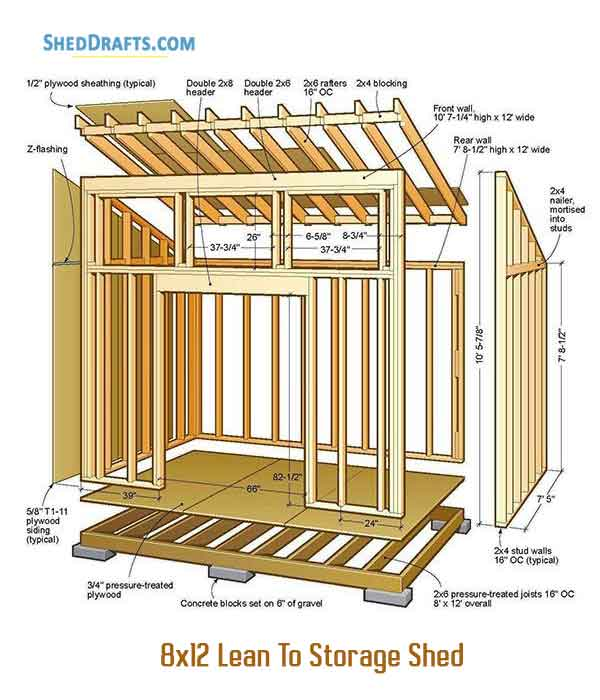 8 12 Lean To Shed Plans Blueprints For Sturdy Storage Building