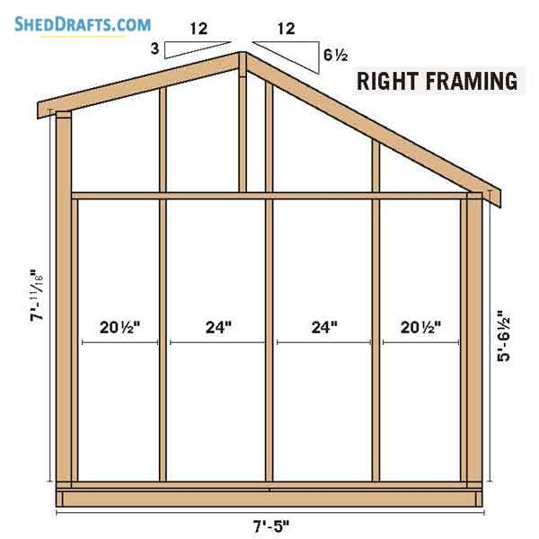 8 12 Saltbox Storage Shed Plans Blueprints For Constructing