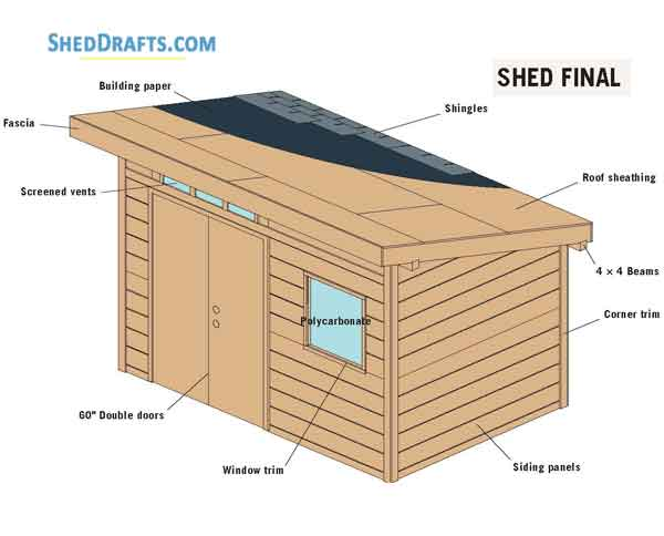 8 12 Slant Roof Utility Shed Plans Blueprints For Crafting A