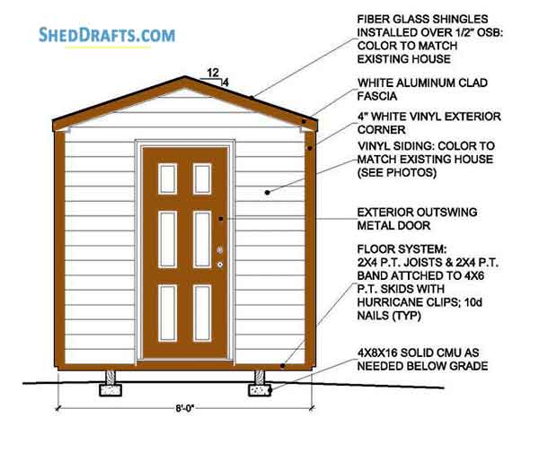 8 8 Gable Storage Shed Plans Blueprints For Backyard Shed