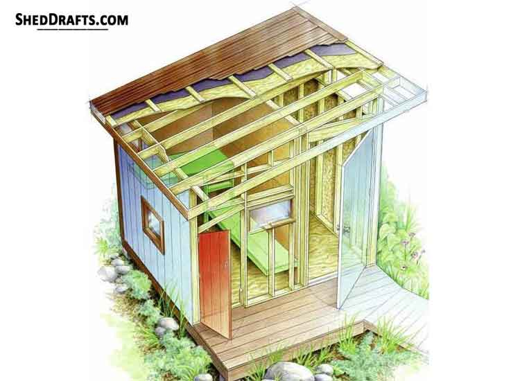 9 215 10 Slant Roof Shed Plans Blueprints For Storage Shed